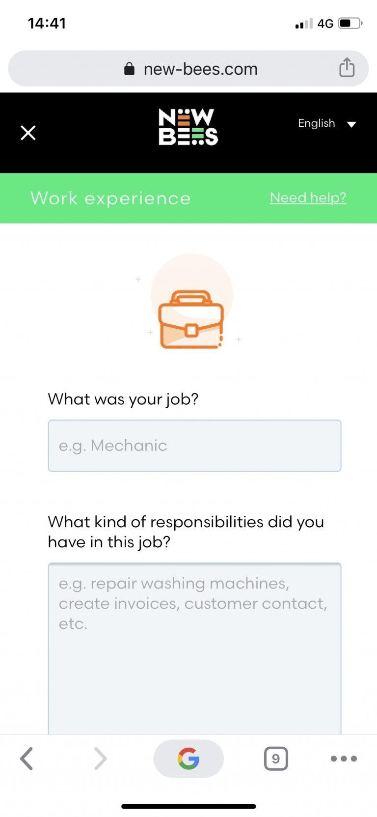 Online oplossingen app scherm 4